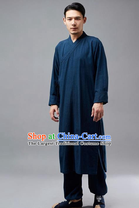 Chinese Traditional Costume Tang Suit Martial Arts Navy Robe National Mandarin Gown for Men