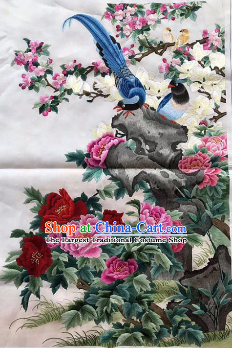 Chinese Traditional Embroidery Craft Embroidered Peony Birds Silk Patches Handmade Embroidering Accessories