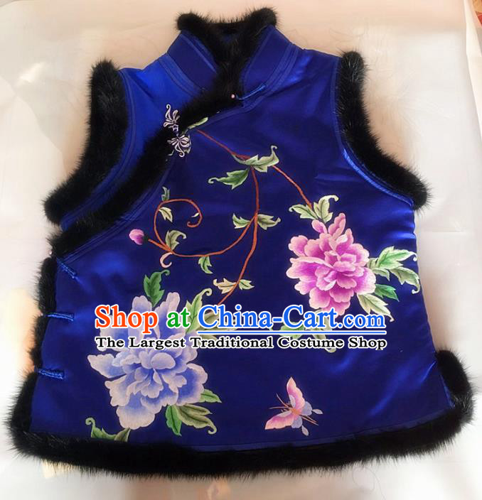 Chinese Traditional Costume Tang Suit Embroidered Peony Royalblue Vest National Silk Waistcoat for Women