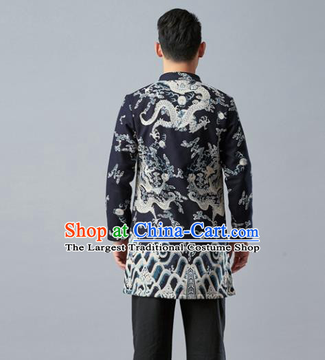 Chinese Traditional Costume Tang Suit Jacket National Mandarin Overcoat for Men