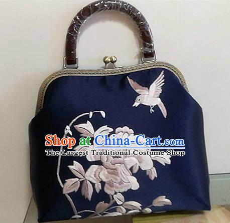 Chinese Traditional Handmade Embroidery Craft Embroidered Peony Bags Embroidering Handbag