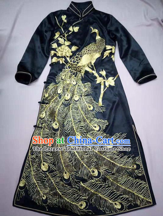 Chinese Traditional Costume Tang Suit Embroidered Cheongsam National Black Silk Qipao Dress for Women