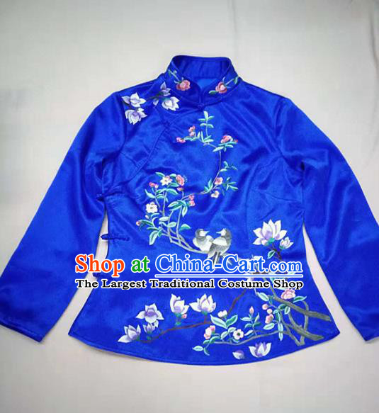 Chinese Traditional Costume Tang Suit Embroidered Blue Blouse National Silk Qipao Shirt for Women