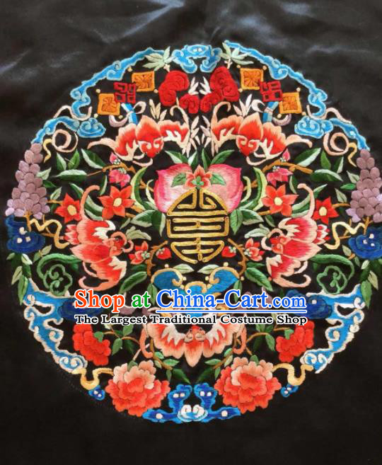 Chinese Traditional Handmade Embroidery Craft Embroidered Patches Embroidering Peach Peony Silk Piece
