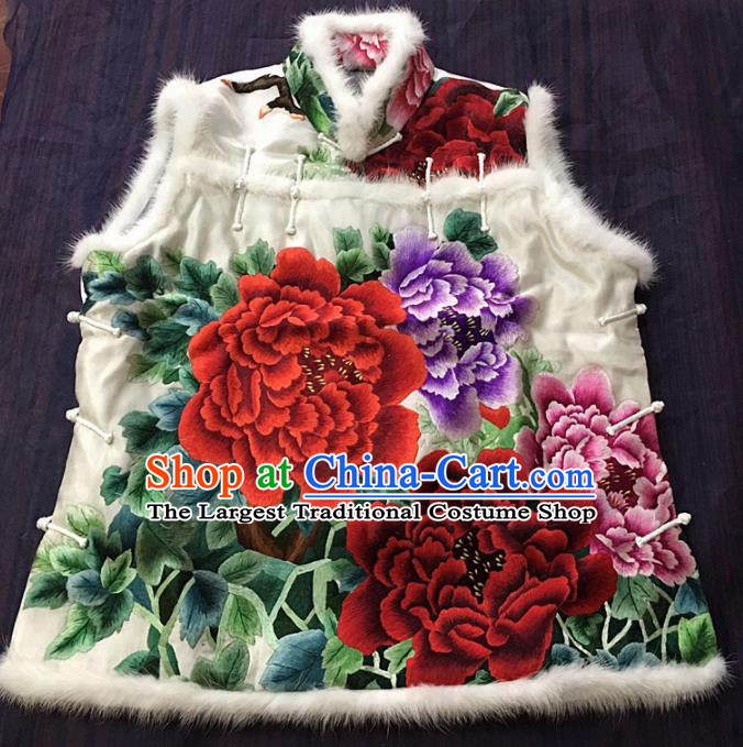 Chinese Traditional Costume Tang Suit Embroidered Peony White Vest National Silk Waistcoat for Women