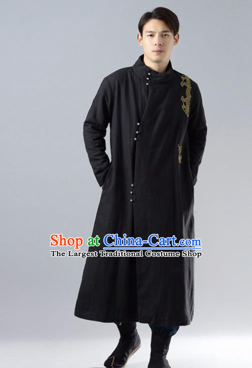 Chinese Traditional Costume Tang Suit Black Cotton Padded Robe National Mandarin Overcoat for Men