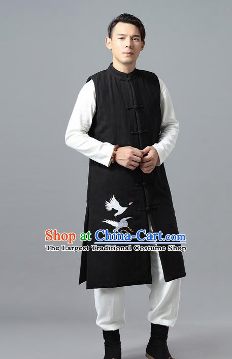 Chinese Traditional Costume Tang Suit Black Cotton Padded Vest National Mandarin Overcoat for Men