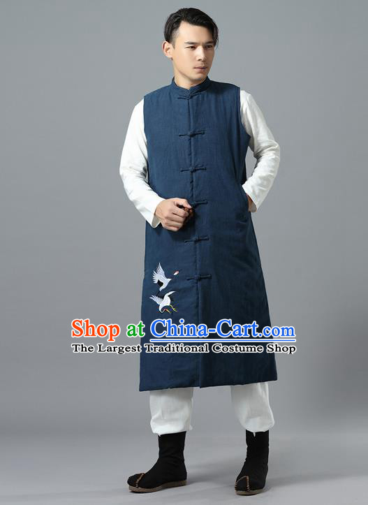 Chinese Traditional Costume Tang Suit Navy Cotton Padded Vest National Mandarin Overcoat for Men
