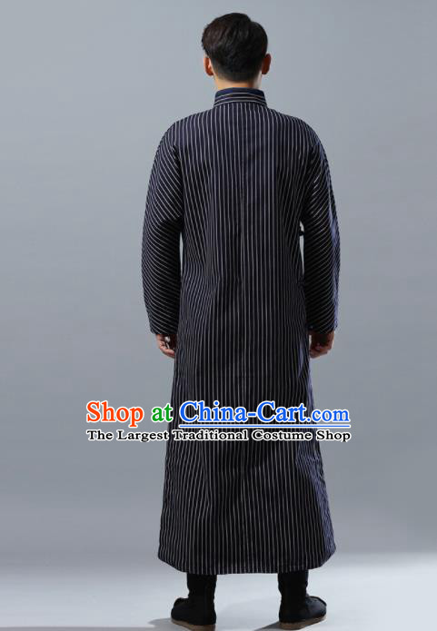 Chinese Traditional Costume Tang Suit Black Robe National Mandarin Overcoat for Men