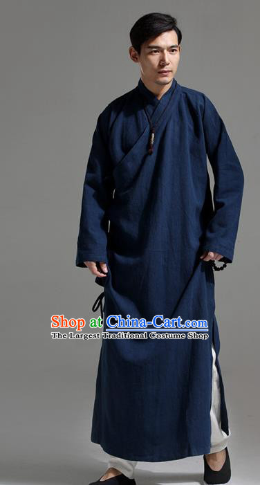 Chinese Traditional Costume Tang Suit Slant Opening Robe National Navy Mandarin Gown for Men