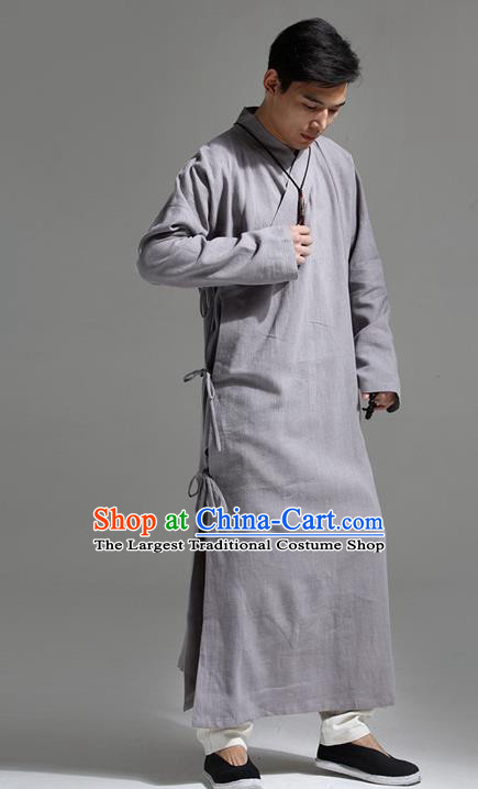Chinese Traditional Costume Tang Suit Slant Opening Robe National Grey Mandarin Gown for Men