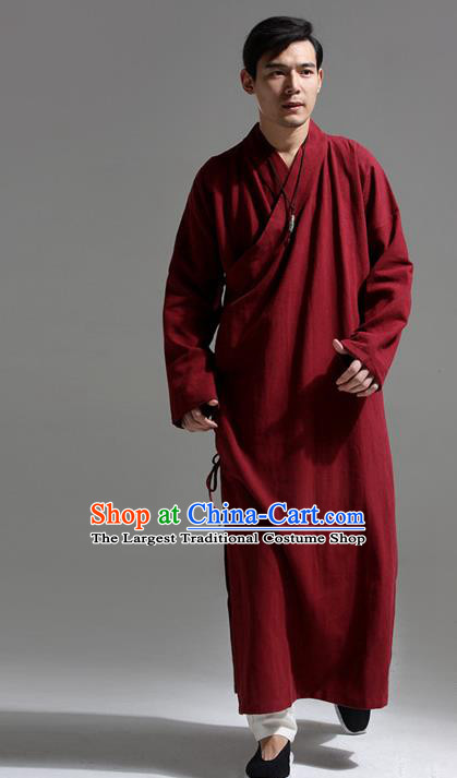 Chinese Traditional Costume Tang Suit Slant Opening Robe National Red Mandarin Gown for Men