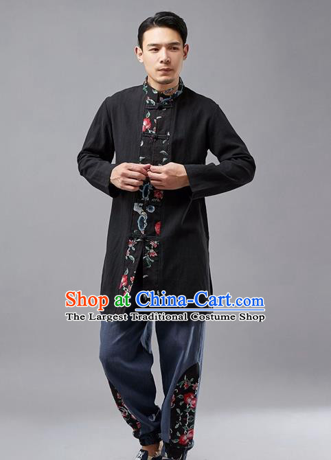 Chinese Traditional Costume Tang Suit Black Coat National Mandarin Jacket for Men