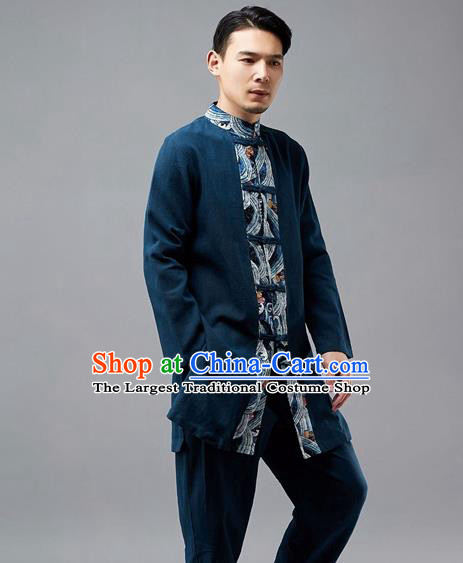 Chinese Traditional Costume Tang Suit Navy Coat National Mandarin Jacket for Men