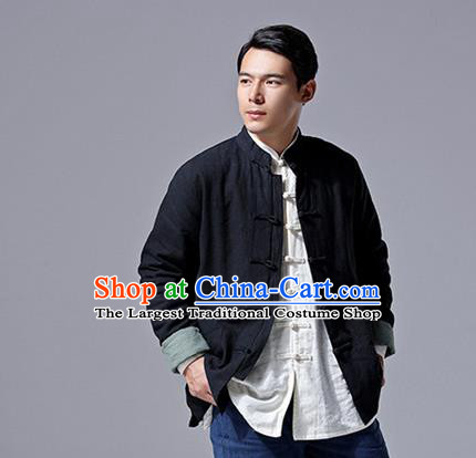 Chinese Traditional Costume Tang Suit Overcoat National Mandarin Black Jacket for Men