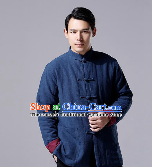 Chinese Traditional Costume Tang Suit Overcoat National Mandarin Navy Jacket for Men