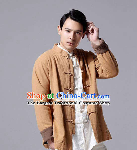 Chinese Traditional Costume Tang Suit Overcoat National Mandarin Khaki Jacket for Men