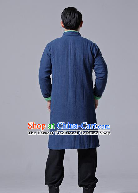 Chinese Traditional Costume Tang Suit Navy Overcoat National Mandarin Dust Coat for Men