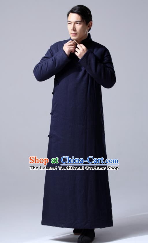 Chinese Traditional Costume Tang Suit Navy Cotton Wadded Robe National Mandarin Dust Coat for Men