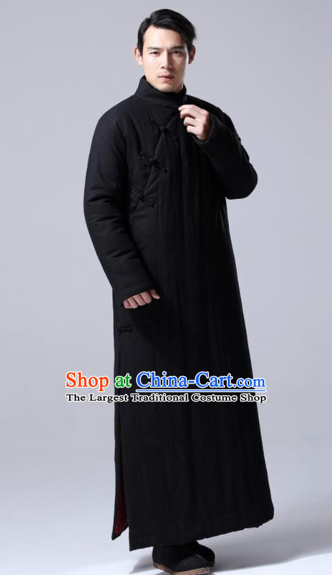 Chinese Traditional Costume Tang Suit Black Cotton Wadded Robe National Mandarin Dust Coat for Men