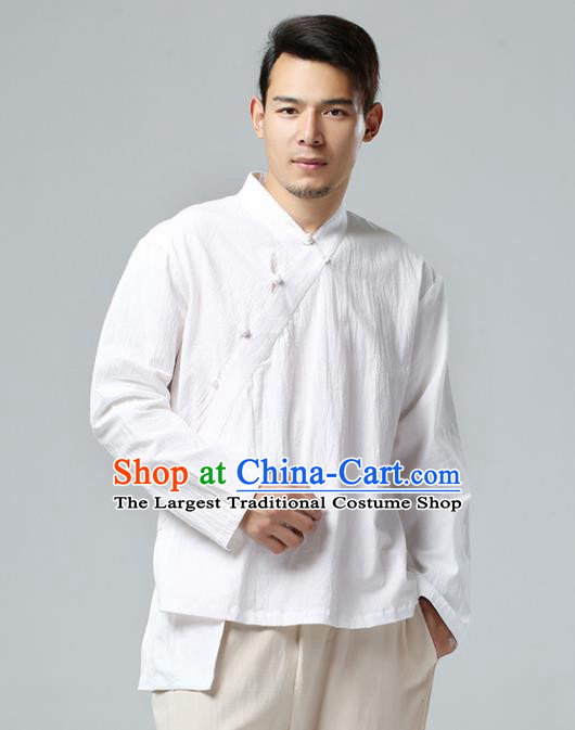 Chinese Traditional Costume Tang Suit White Shirt National Mandarin Upper Outer Garment for Men