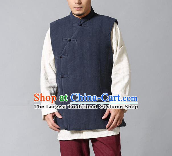 Chinese Traditional Costume Tang Suit Waistcoat National Grey Mandarin Vest Upper Outer Garment for Men