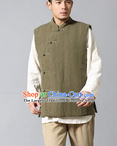 Chinese Traditional Costume Tang Suit Waistcoat National Army Green Mandarin Vest Upper Outer Garment for Men