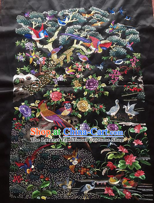 Chinese Traditional Handmade Embroidery Craft Embroidered Birds Black Patches Embroidering Silk Piece