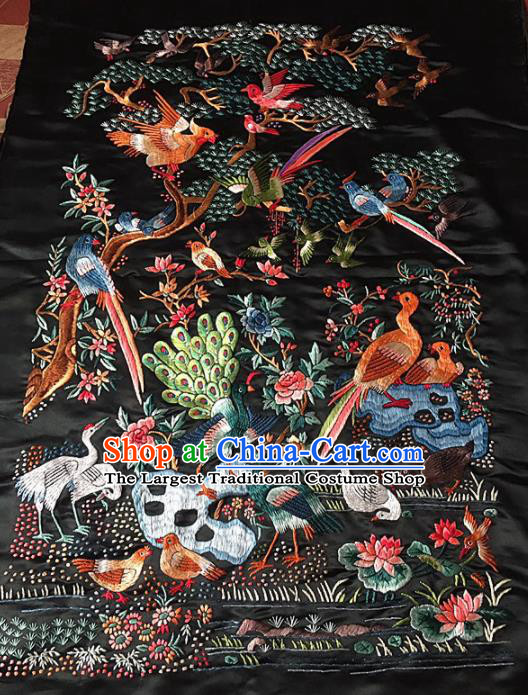 Chinese Traditional Handmade Embroidery Craft Embroidered Birds Cloth Patches Embroidering Silk Piece