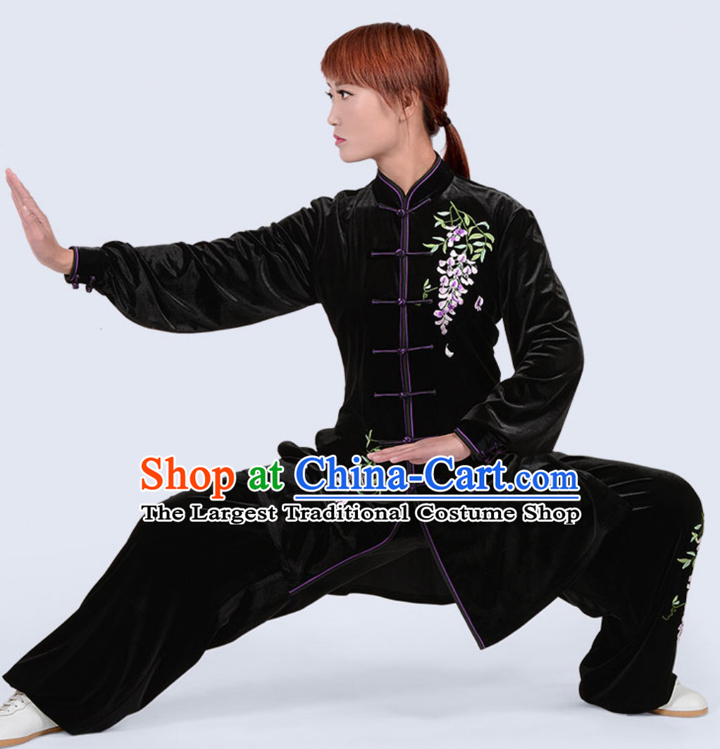 Black Top Winter Wear Velvet Asian Embroidered Tai Chi Clothes Martial Arts Dresses Complete Set for Women