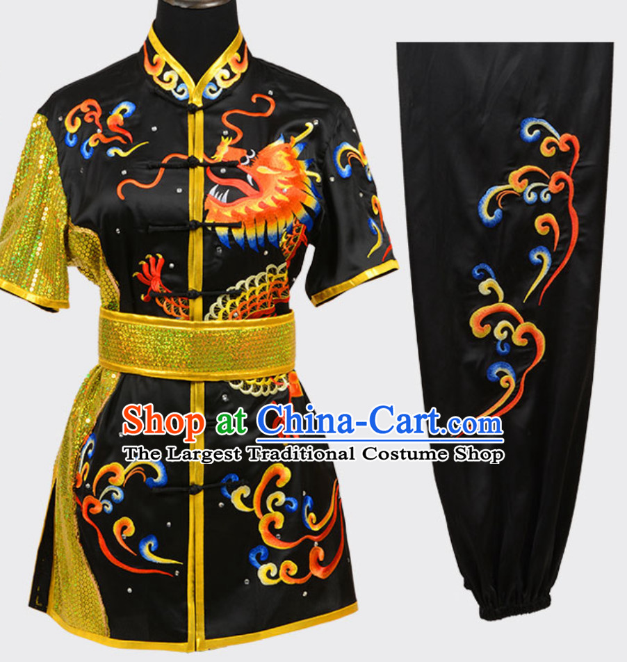 Black Top Short Sleeves Asian Embroidered Dragon Tai Chi Clothes Martial Arts Uniform Complete Set for Men or Women