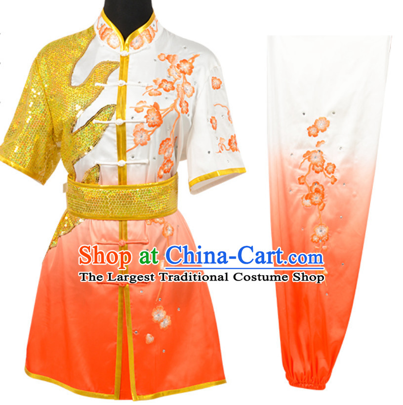 Color Transition Top Chinese Embroidered Plum Blossom Taiji Outfit Martial Arts Uniforms Complete Set for Men or Women