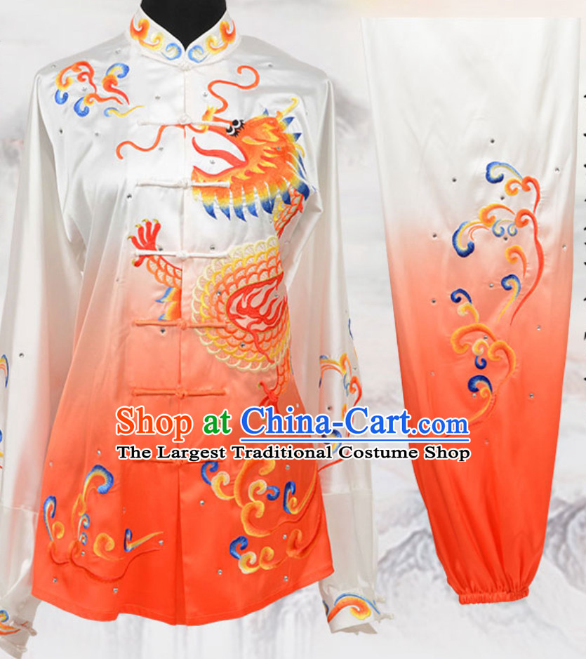 Color Transition Top Chinese Embroidered Dragon Taiji Outfits Martial Arts Uniforms Complete Set for Men or Women