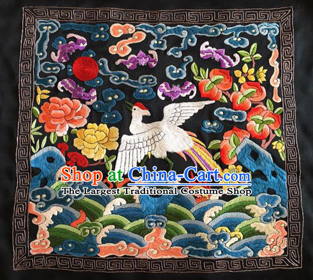 Chinese Traditional Embroidered Crane Peony Silk Patches Handmade Embroidery Craft