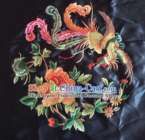 Chinese Traditional Embroidered Phoenix Peony Silk Patches Handmade Embroidery Craft