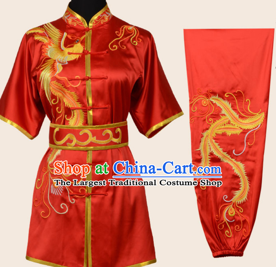 Top Red Chinese Embroidered Phoenix Gong Fu Blouse Pants Outfits Martial Arts Suit Complete Set for Men or Women