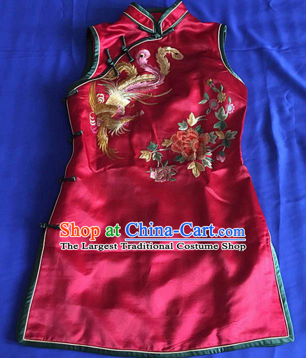 Chinese Traditional Silk Costume Tang Suit Embroidered Phoenix Peony Red Silk Qipao Dress for Women
