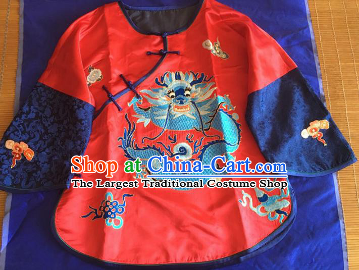 Chinese Traditional Silk Costume Tang Suit Embroidered Dragon Red Silk Blouse for Women