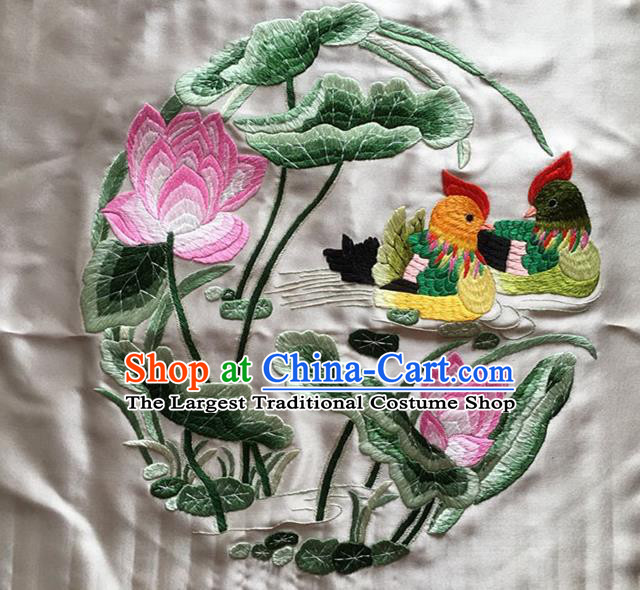 Asian Chinese Traditional Embroidered Mandarin Duck Lotus White Silk Patches Handmade Embroidery Craft