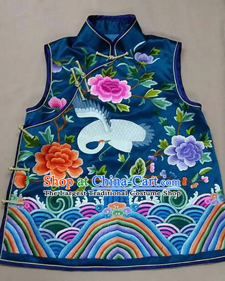 Chinese Traditional Silk Costume Tang Suit Embroidered Peony Crane Silk Vest for Women