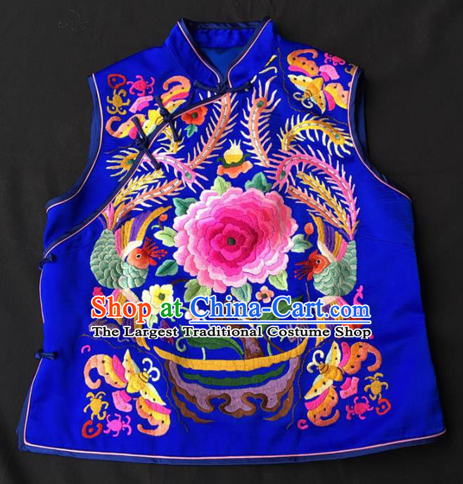 Chinese Traditional Silk Costume Tang Suit Embroidered Peony Royalblue Vest for Women