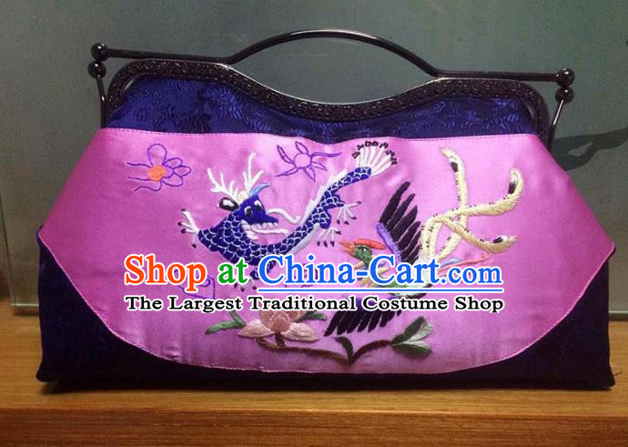Chinese Traditional Embroidered Dragon Phoenix Pink Handbag Handmade Embroidery Craft Silk Bags