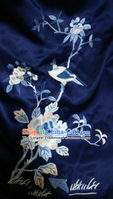 Asian Chinese Traditional Embroidered Peony Navy Silk Patches Handmade Embroidery Craft