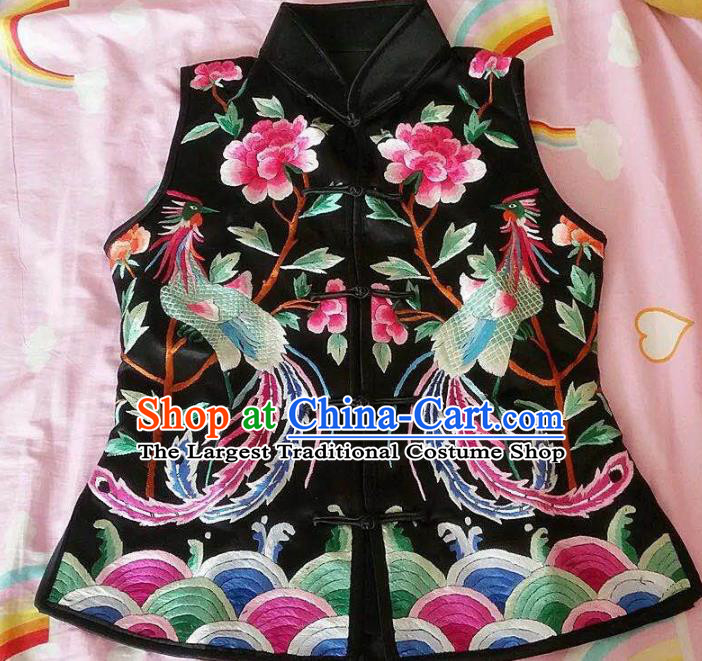 Chinese Traditional Costume Tang Suit Embroidered Phoenix Silk Vest for Women