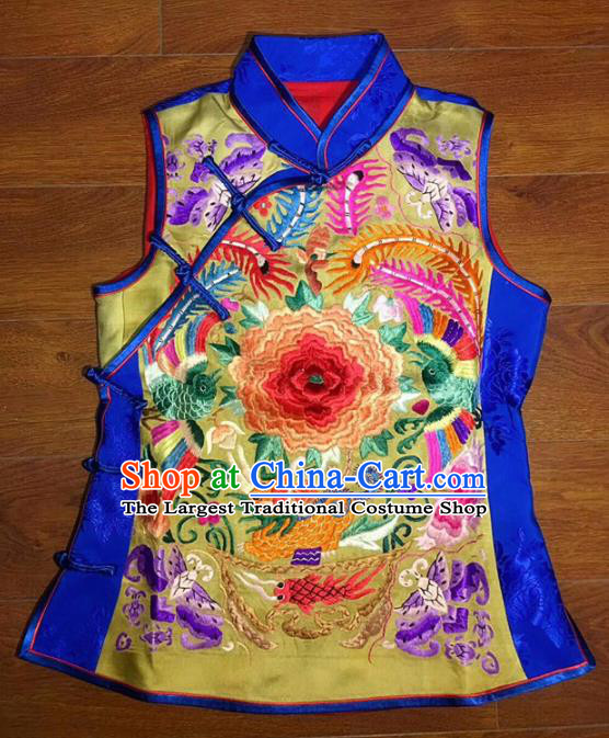 Chinese Traditional Costume Tang Suit Embroidered Peony Silk Vest for Women