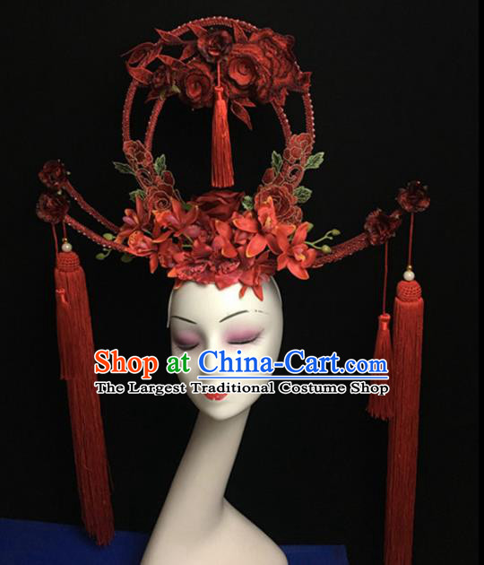 Top Halloween Hair Accessories Chinese Traditional Catwalks Red Flowers Tassel Headdress for Women