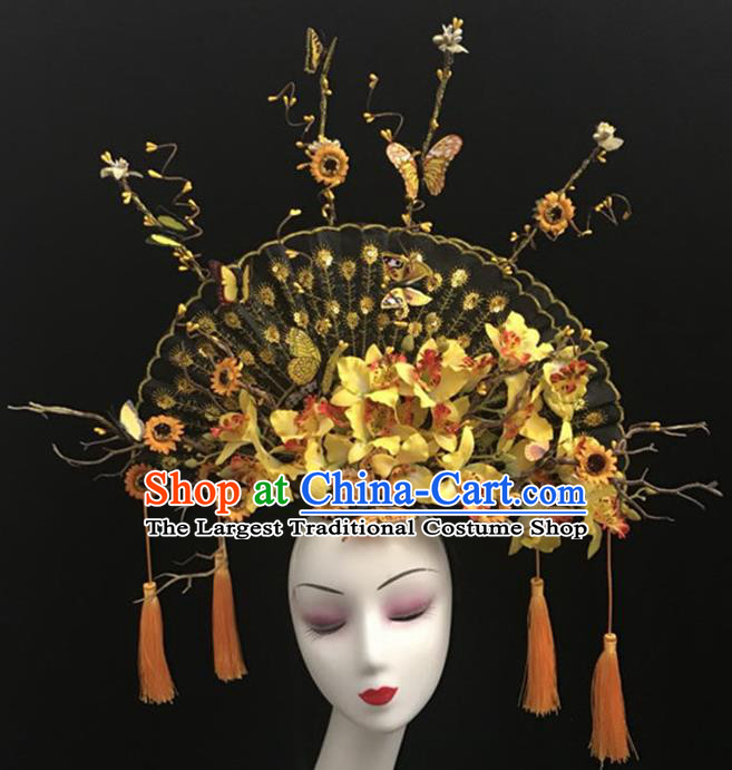 Top Halloween Hair Accessories Chinese Traditional Catwalks Yellow Flowers Fan Headdress for Women