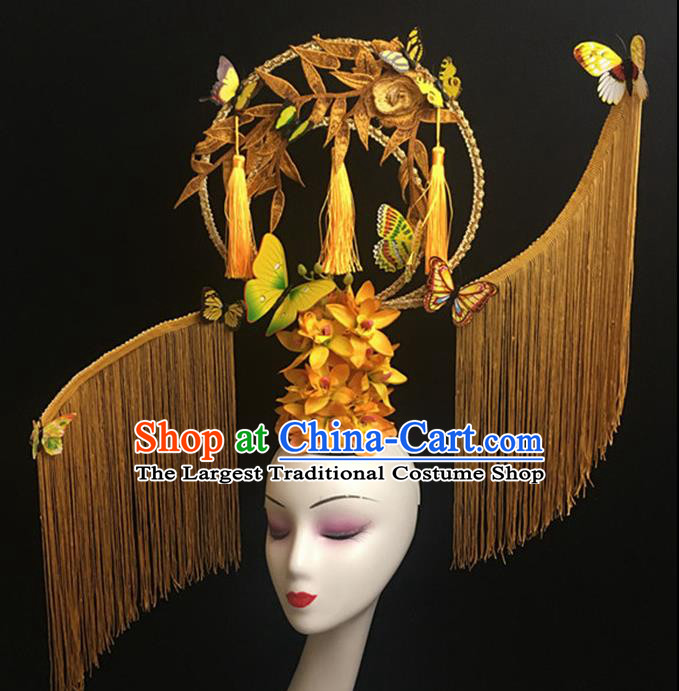 Top Halloween Yellow Tassel Hair Accessories Chinese Traditional Catwalks Giant Headpiece for Women