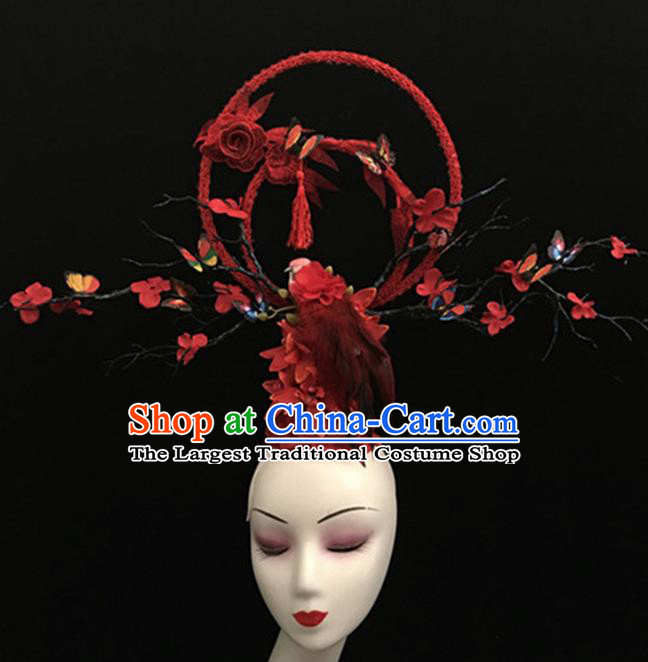Top Halloween Giant Hair Accessories Chinese Traditional Catwalks Red Bird Headpiece for Women