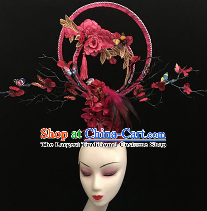 Top Halloween Giant Hair Accessories Chinese Traditional Catwalks Rosy Peony Headpiece for Women